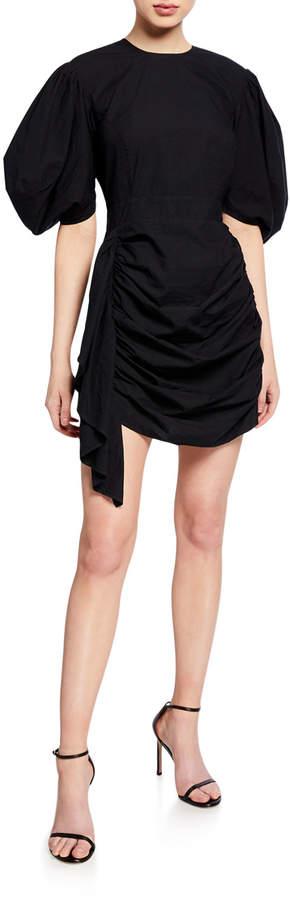 Rhode Pia Shirred Cotton Puff-Sleeve Short Dress