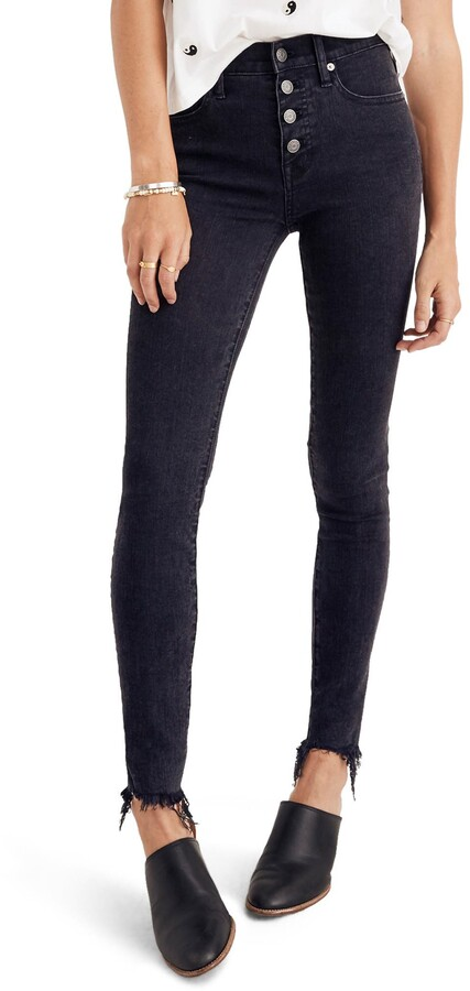 9-Inch Button Ankle Skinny Jeans