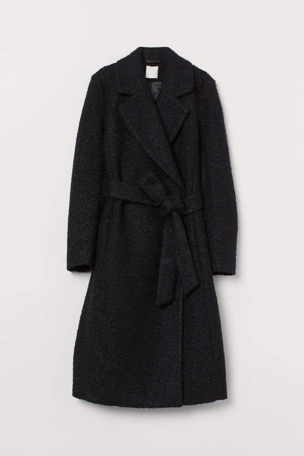 H&M Coat with a tie belt