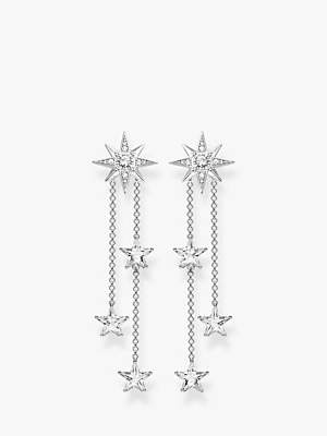 THOMAS SABO Magic Stars Double Chain Drop Earrings, Silver