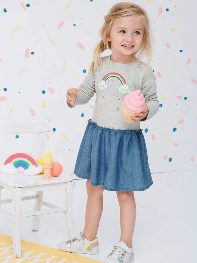 Vertbaudet Dual Fabric Dress with Embroidered Rainbow for Girls