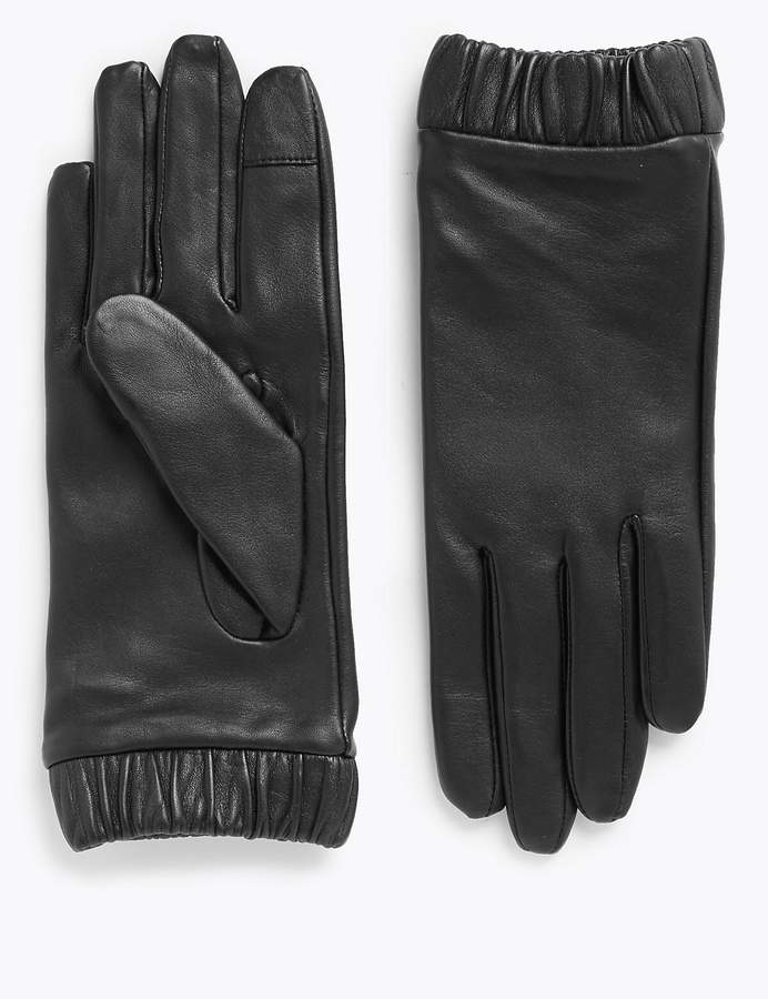 Leather Touchscreen Cuffed Gloves