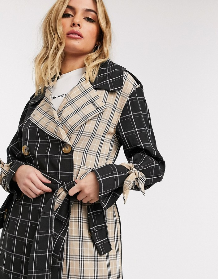 Unique21 mix and match trench coat in checks