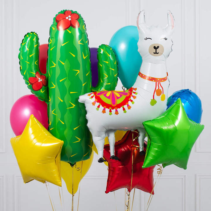 Bubblegum Balloons Tropical Fiesta Llama Crazy Balloon Bunch