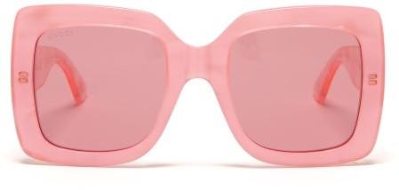 Gucci - Oversized Square Pearlescent Acetate Sunglasses - Womens - Pink Multi
