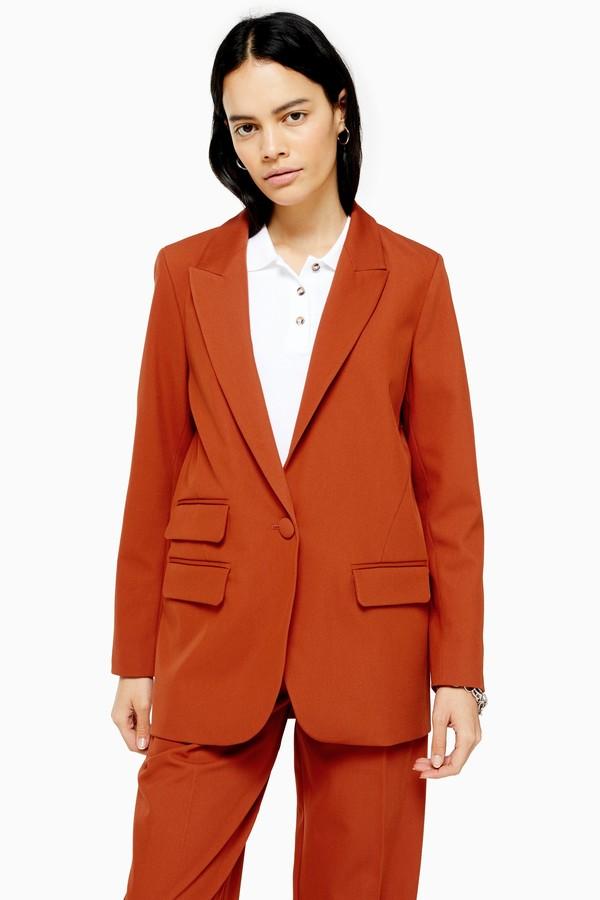 Topshop Womens Orange Single Breasted Blazer - Orange