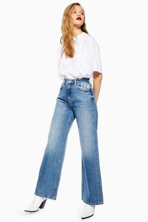 Topshop Womens Mid Stone Slim Wide Leg Jeans - Mid Stone