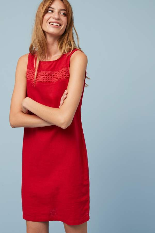 Womens Next Red Linen Blend Shift Dress - Red