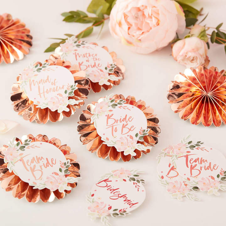 Ginger Ray Rose Gold Floral Team Bride Hen Party Badge Kit
