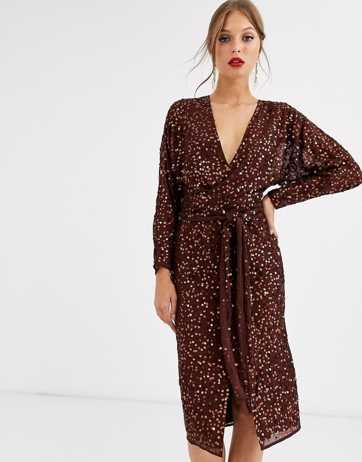 Asos Design ASOS DESIGN midi dress with batwing sleeve and wrap waist in scatter sequin-Brown