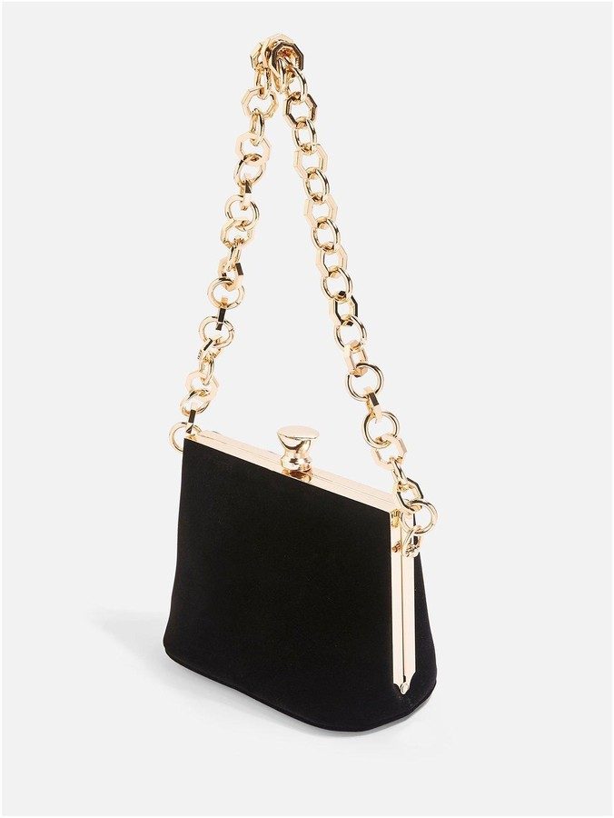 Topshop Margot Velvet Chain Bag - Black