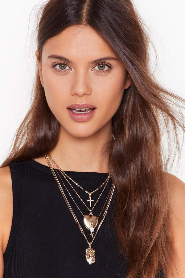 Nasty Gal Womens Queen of Hearts Layered Necklace - metallics - One Size