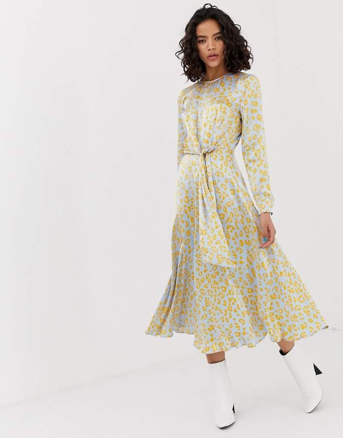 Ghost Mindy cheetah print tie front satin midi dress