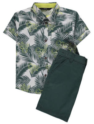 George Green Palm Leaf Print Shirt and Shorts Outfit