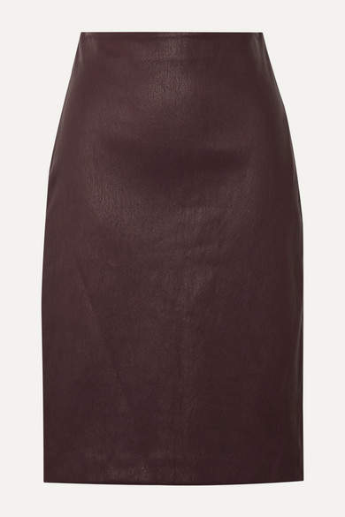 leather pencil skirt burgundy