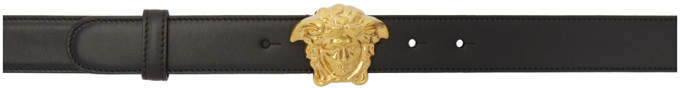 Versace Black and Gold Medusa Tribute Belt