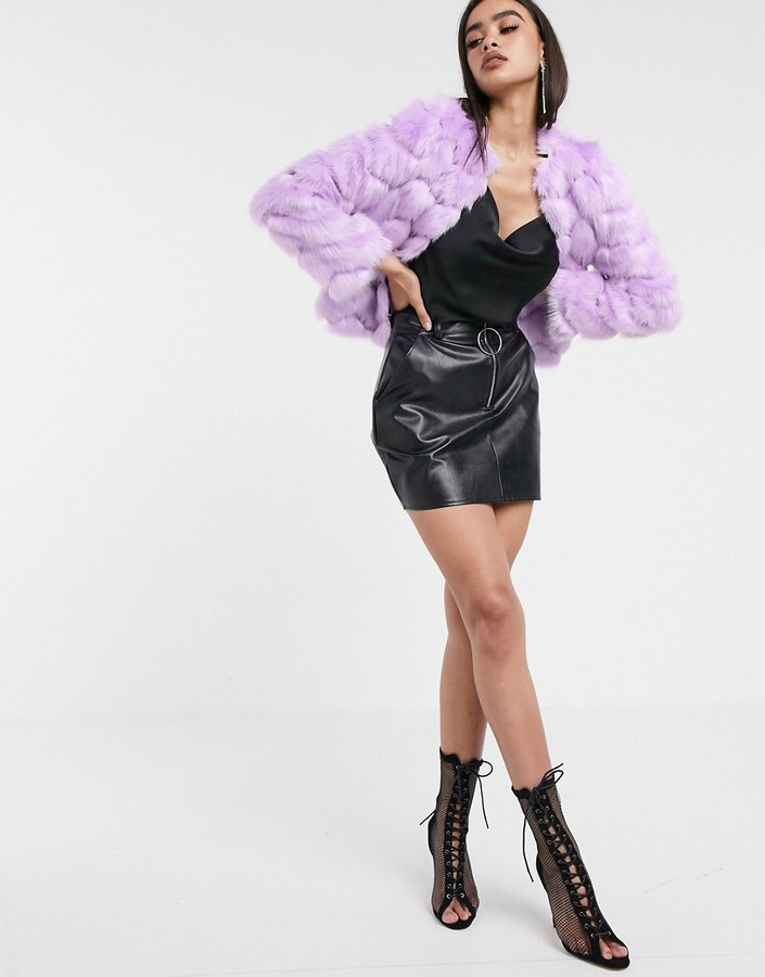 ASOS DESIGN chevron textured faux fur jacket in lilac