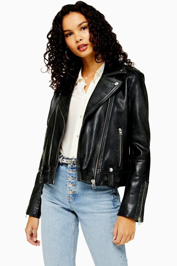 Topshop Womens Real Leather Biker Jacket - Black