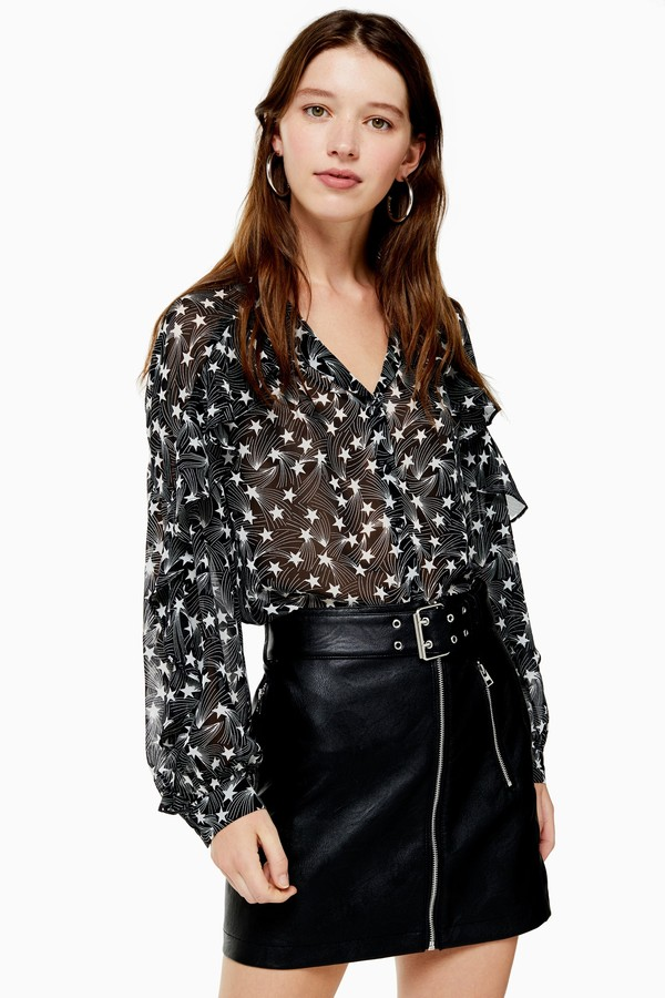 Womens Black And White Ruffle Star Print Shirt - Monochrome
