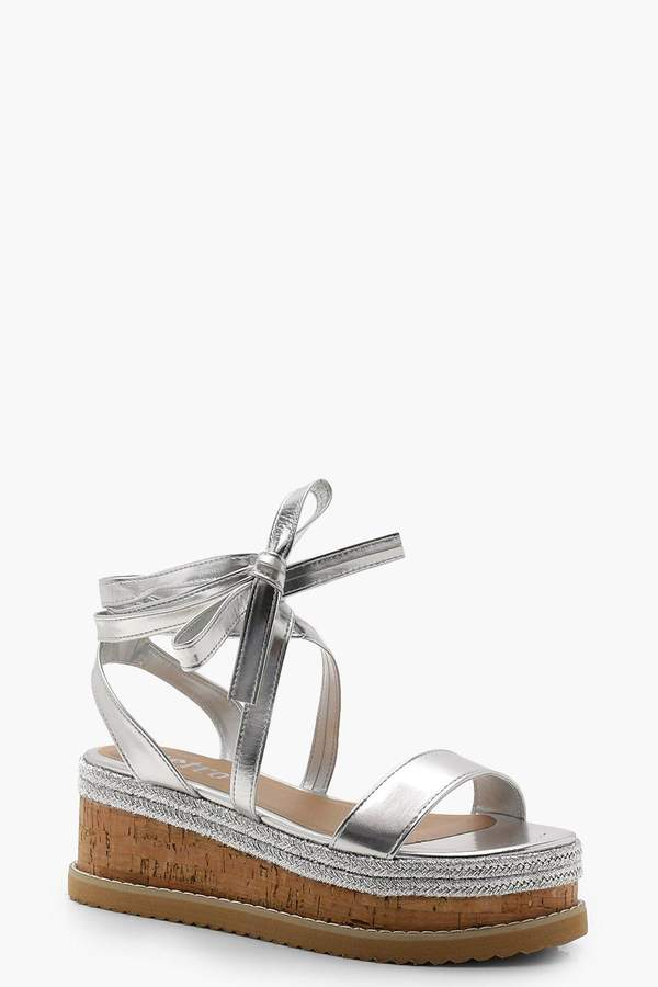 Flatform Espadrille Tie Up Sandals