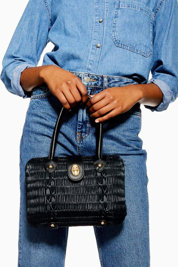 Topshop Womens Flux Black Wicker Straw Grab Bag - Black