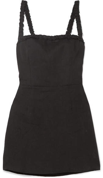 Reformation - Janie Ruffled Linen Mini Dress - Black