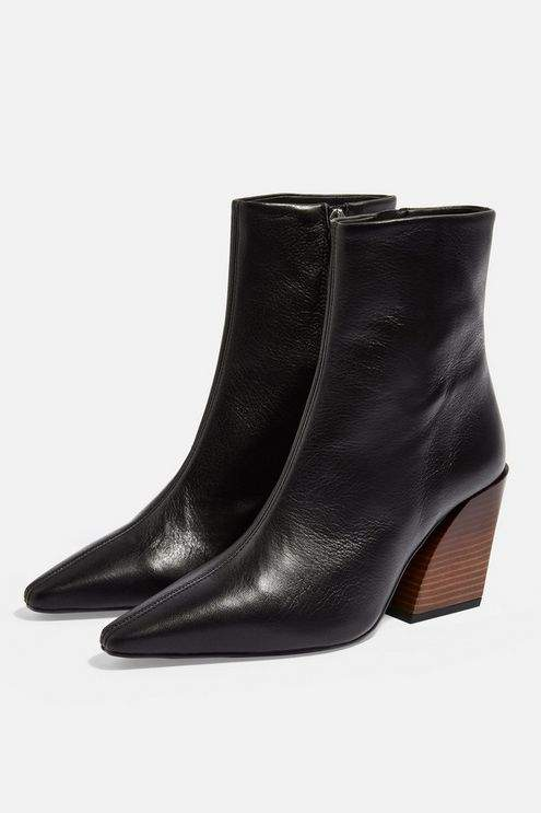Topshop Womens Henley Leather Western Boots - Black