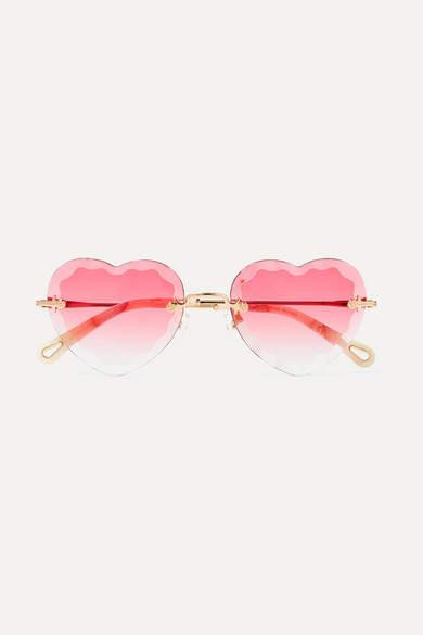 Chloé Chloe - Rosie Heart-shaped Gold-tone Sunglasses - Pink