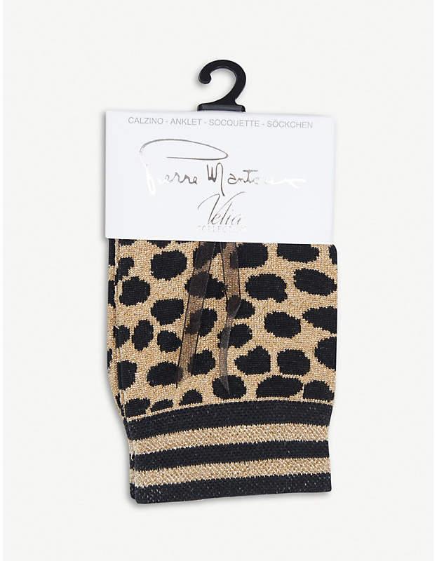 Pierre Mantoux Francis leopard-pattern cotton-blend ankle socks