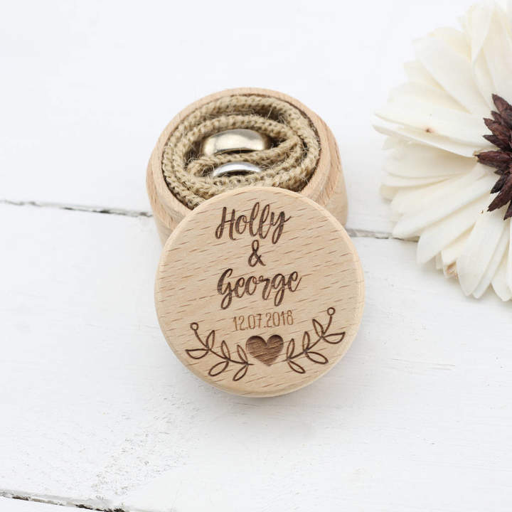 The Laser Engraving Company Personalised Wooden Wedding Ring Box In Nine Designs