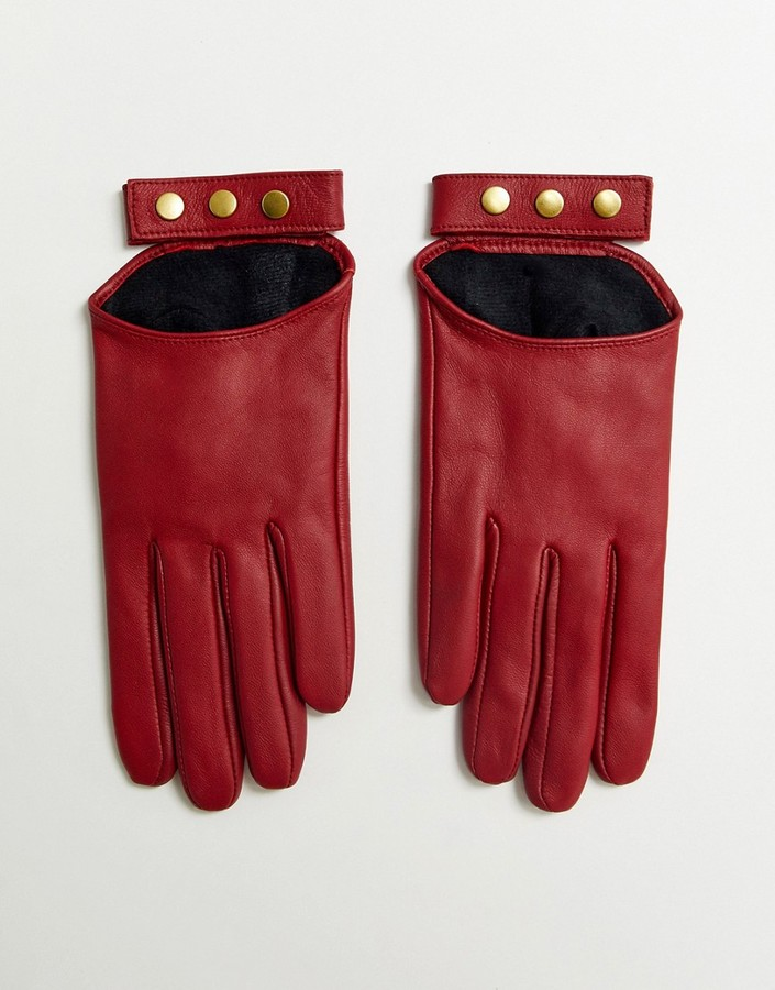 Asos Design ASOS DESIGN leather touch screen gloves in red
