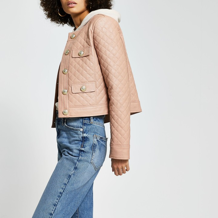 River Island Womens Pink faux leather quilted jacket