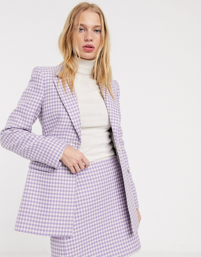 & Other Stories gingham check sculpted blazer in lilac
