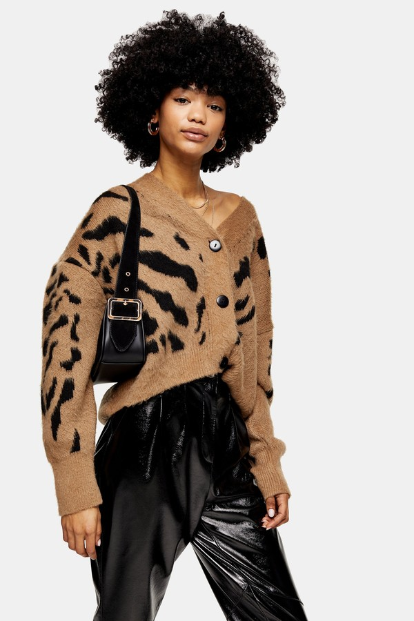 Topshop Womens Camel And Black Animal Marking Knitted Cardigan - Brown