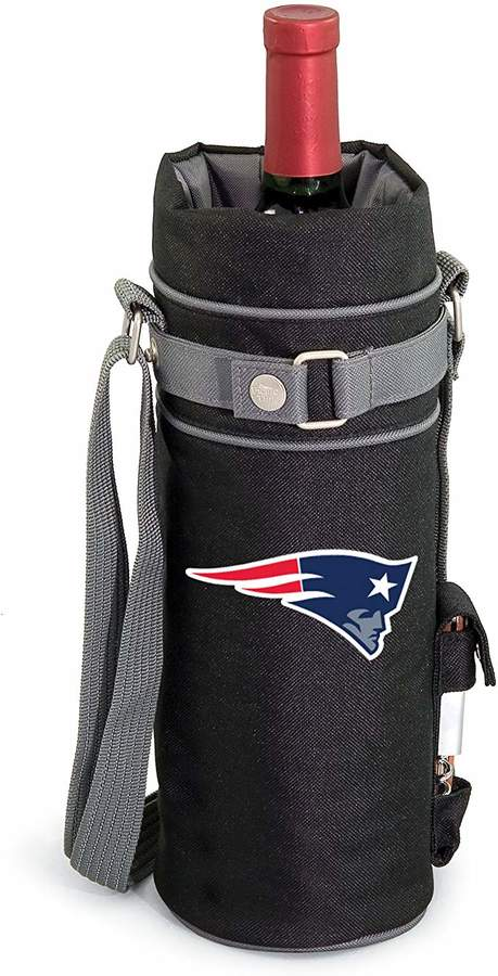 NFL New England Patriots Insulated Single Bottle Wine Sack with Corkscrew