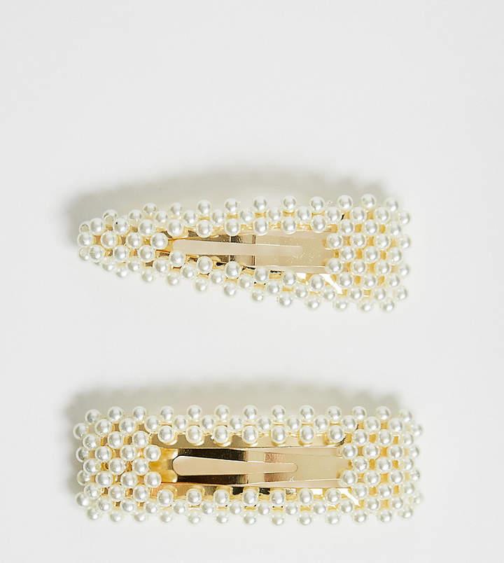 Asos Design ASOS DESIGN pack of 2 large pearl snap hair clips