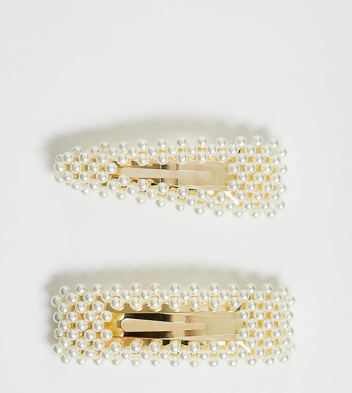 ASOS DESIGN pack of 2 large pearl snap hair clips
