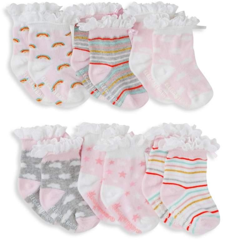 Elegant Baby Baby Girl's Six-Pack Rainbow Socks