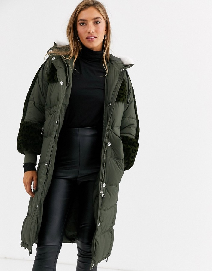Urbancode longline padded parka with leopard faux fur panels-Green