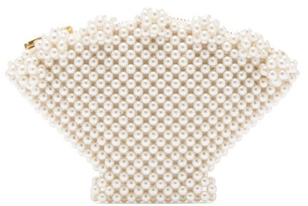 Shrimps - Shell Faux Pearl-embellished Clutch - Womens - Cream