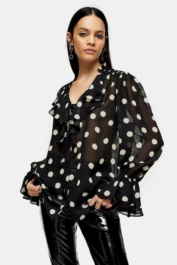 Topshop Womens Idol Black Spot Print Blouse - Black