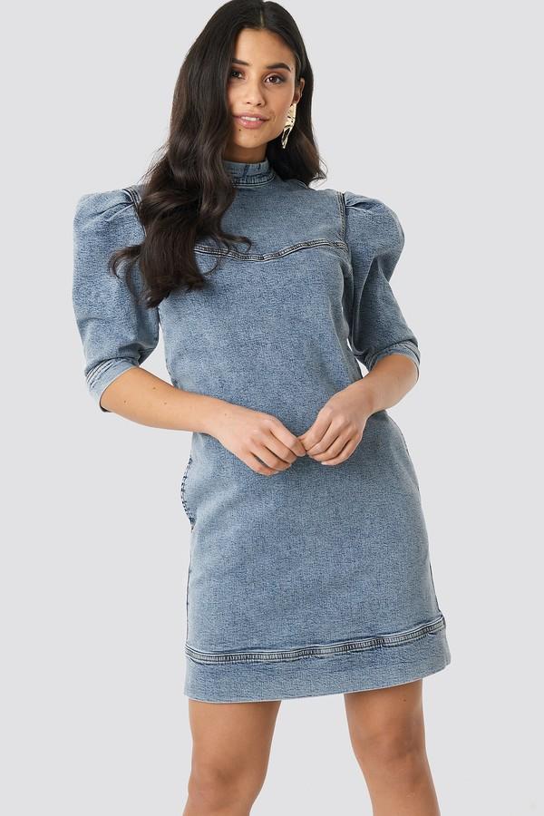NA-KD Puff Sleeve Denim Mini Dress Blue