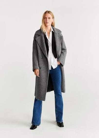 MANGO Fur boucle wool coat