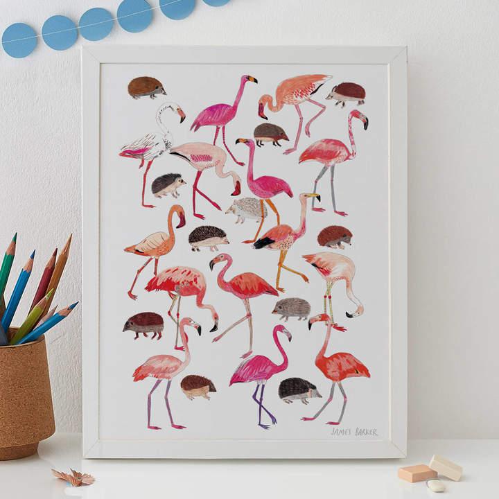 James Barker Flamingos And Hedgehog Alice In Wonderland Print