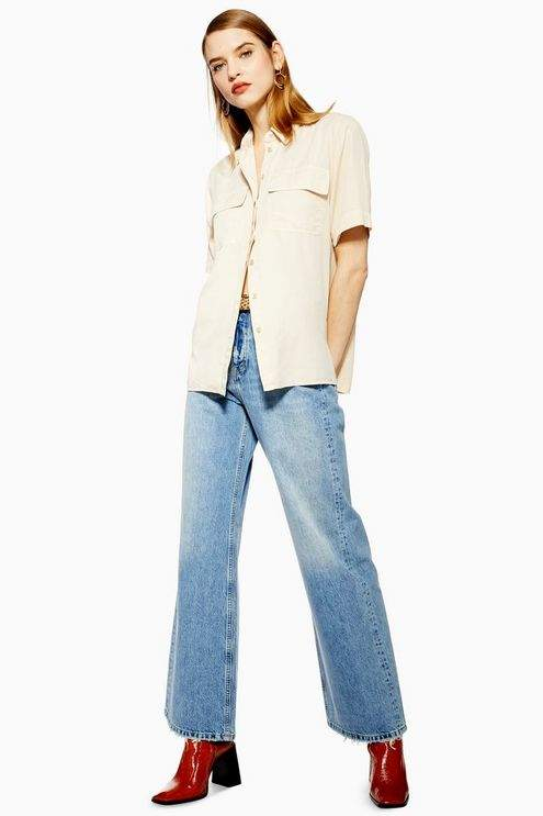 Womens Bleach Slim Wide Leg Jeans - Bleach Stone