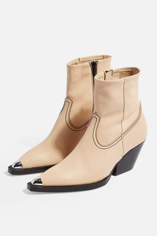 Topshop Womens Mario Leather Western Boots - Natural