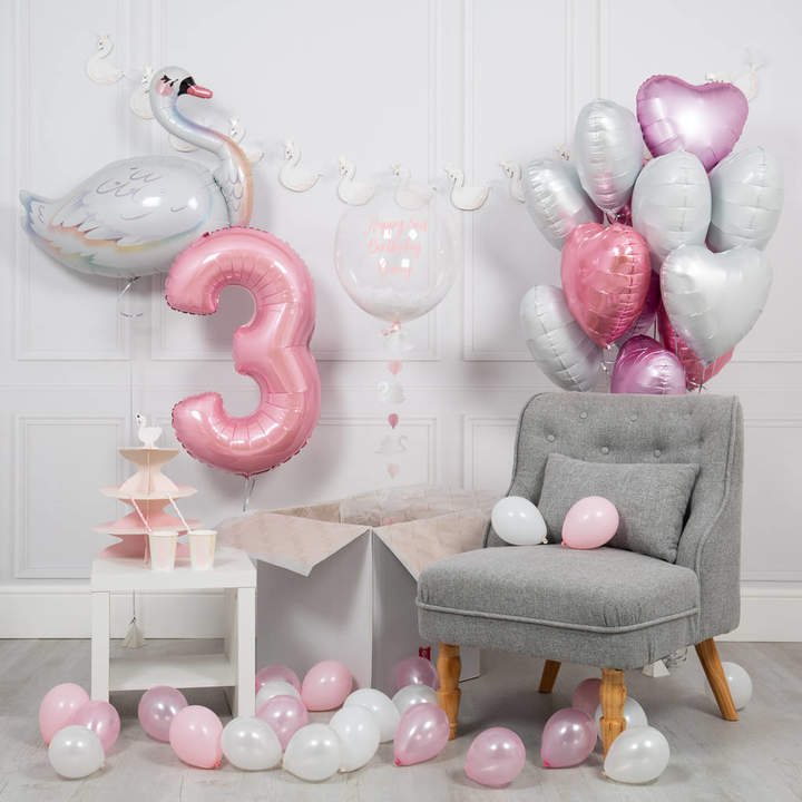 Bubblegum Balloons Inflated Swan Birthday Morning Package