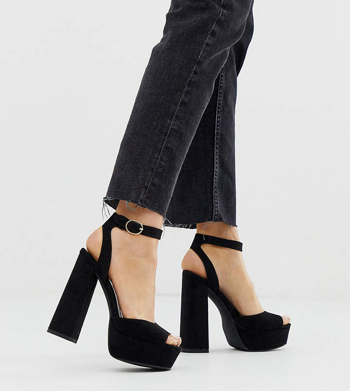 New Look chunky platform heel sandal in black