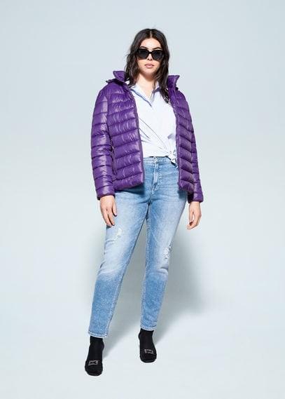 Detachable hood quilted coat