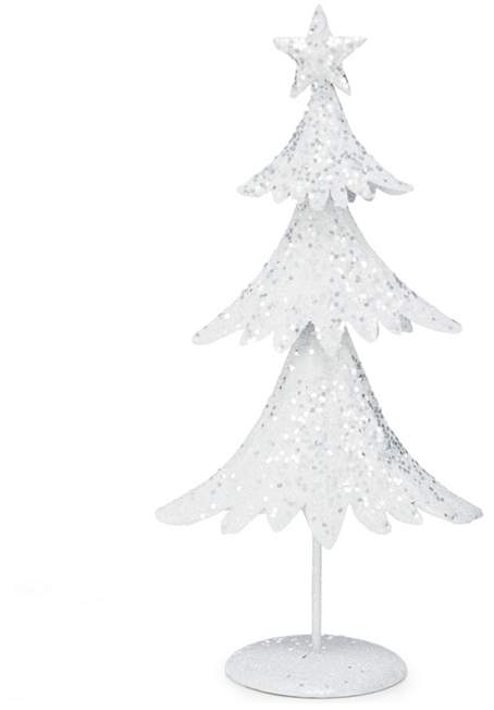 DEBENHAMS Debenhams - White Glitter Small Christmas Tree Ornament